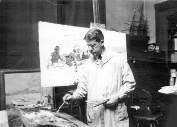 Frank E. Schoonover Painting in his studio C. 1928