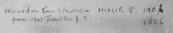 Inscription on Schoonover's studio wall; Moved in this studio March 8th, 1906
